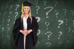 Stock Photo of Composite image of smiling blonde student in graduate robe