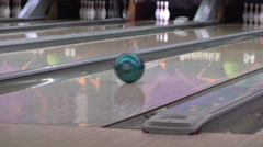 Bowling ball going down alley 4k Stock Footage