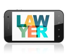 Law concept: Smartphone with Lawyer on  display Stock Illustration