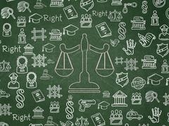 Law concept: Scales on School Board background Stock Illustration
