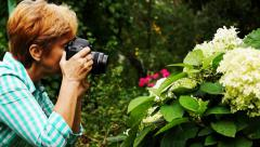 Woman makes pictures of flower Stock Footage