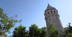 Galata Tower in Istanbul, Turkey Stock Footage