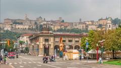 Busy streets at Bergamo's boulevard. Stock Footage