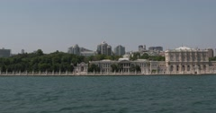 View of Ciragan Palace from Bosphorus of Istanbul Stock Footage