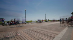 Board walk beach time lapse Stock Footage