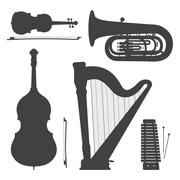 Monochrome music instruments silhouettes illustration collection. Piirros