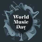 abstract dark colored international music day poster illustration. - stock illustration