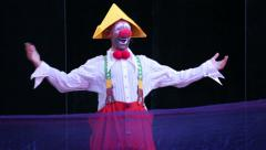 Clown performance on the stage. Arkistovideo