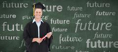 Composite image of a male graduate with his degree in hand - stock photo