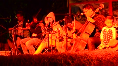 Play music Classic with Acoustic Team concert for show traveler in evening time Stock Footage