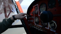 The pilot at the controls, small aircraft. Stock Footage