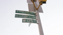 125th St and Martin Luther King Boulevard sign in Harlem, NYC Stock Footage