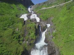 Sendeelvi waterfall, river Myrkdalslvi, Myrkdalen, Voss, Norway Stock Footage