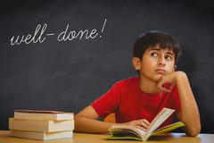 Well-done! against blackboard Stock Photos