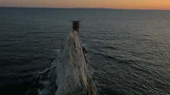 Aerial Drone Isle of Wight Needles coastline Channel - stock footage