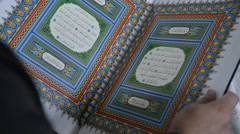 Native (Arabic) reads the Koran in the mosque Stock Footage