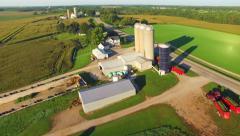 Farm in the Heartland of American, Breathtaking Flyover Stock Footage