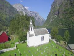 White church in Nærøy along Nærøyfjord, Gudvangen, Aurland, Norway Stock Footage