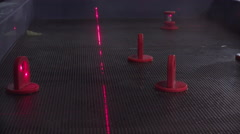 Laser light bouncing off of mirrors in science experiment 4k Stock Footage