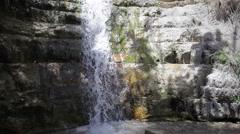 Waterfall spring in desert oasis Ein Gedi, Israel - stock footage