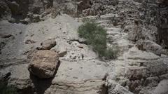 People hike in dry desert - stock footage