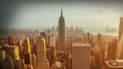 Aerial view of Manhattan skyline. Zoom in. Sunset. Vintage. Time lapse. - stock footage