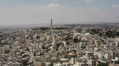 Church on a hill in Jerusalem, skyline view, Israel Stock Footage