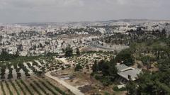 Jerusalem skyline, old city heavily populated, Israel, pan left - stock footage