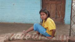 Young girl in a native village in North Argentina Stock Footage