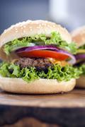 Beef burgers on a wooden board with aromatic spices Stock Photos