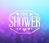 bridal shower pink and blue bokeh background sign - stock illustration
