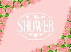 bridal shower pink roses sign - stock illustration
