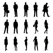 People Standing Black Silhouette Vector Illustrations - stock illustration