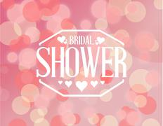 bridal shower pink bokeh sign illustration - stock illustration