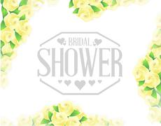 bridal shower yellow roses border sign - stock illustration