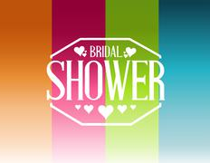bridal shower lines sign background - stock illustration