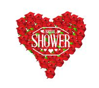 Bridal shower red roses sign illustration Stock Illustration