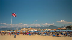 Beach at Viareggio, a city and commune in northern Tuscany, Italy, Stock Footage
