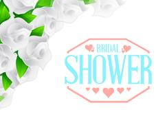 Bridal shower white roses color sign Stock Illustration