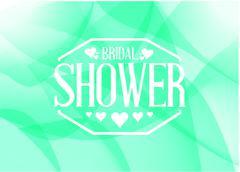 bridal shower sign illustration design green - stock illustration