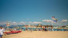 Beach at Viareggio, in northern Tuscany, Italy. Stock Footage