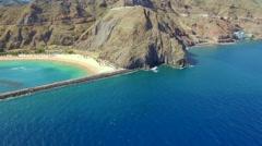 Aerial view of Playa de Las Teresitas. Tenerife Stock Footage