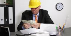 Depressed Builder Man Manager Deadline Supplier Invoice Payment Debt Frustration - stock footage