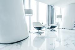 Futuristic interior decoration in white color match Kuvituskuvat