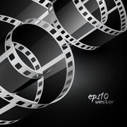 realistic vector reel film - stock illustration