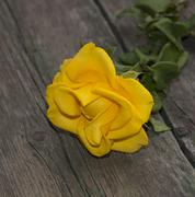 one yellow rose on a tsary wooden table - stock photo