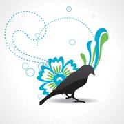 vector silhouette of bird with beautiful artwork - stock illustration