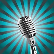 vector mic background - stock illustration