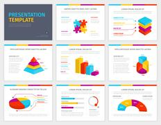 Vector template for presentation with 3d graphs and charts - stock illustration