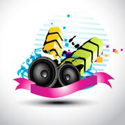 artistic stylish music speaker - stock illustration